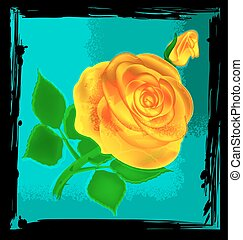 abstract yellow rose - black background with blue abstract...