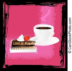 abstract pink with cup and cake - dark background, pink...