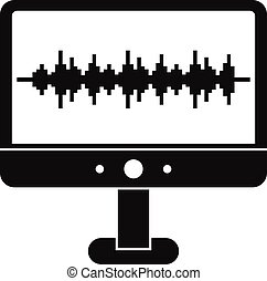 Sound waves icon, simple style - Sound waves icon. Simple...