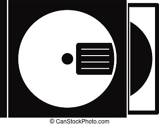 CD box with disc icon, simple style