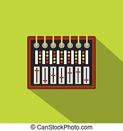 Studio sound mixer icon, flat style - Studio sound mixer...
