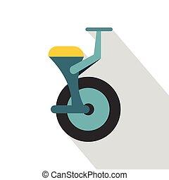 Blue unicycle icon, flat style