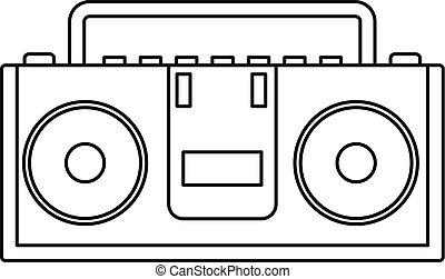 Music boombox icon, outline style - Music boombox icon....