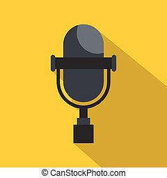 Vintage classic microphone icon, flat style - Vintage...