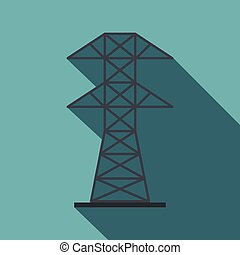 Electric power station icon, flat style - Electric power...