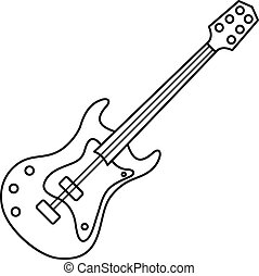Electric guitar icon, outline style - Electric guitar icon....