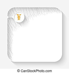 A white text box with hand written shadow and yen symbol