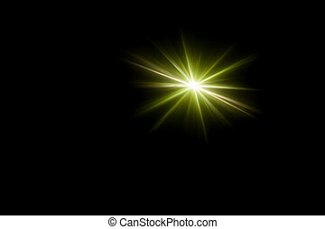 Abstract image of green lighting flare and flash, like...