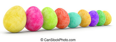 easter eggs in a row isolated on white
