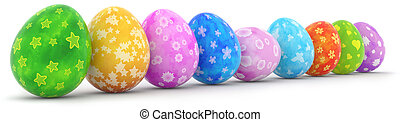 easter eggs in a row isolated on white background