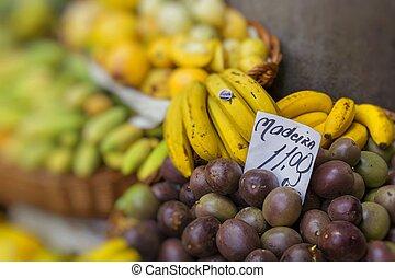 Fresh exotic fruits in Mercado Dos Lavradores.Madeira...