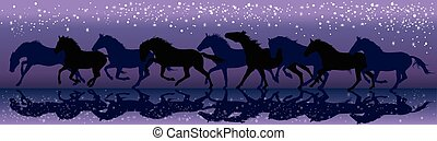 Vector background with dark horses galloping in the night -...