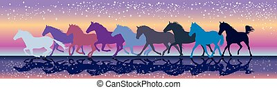 Vector background with horses galloping in the sunset -...