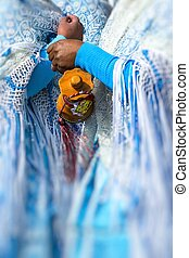Peruvian dancers at the parade in Cusco. People in...