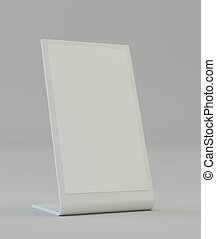 Blank plastic holder. Clear brochure holding. Empty paper...