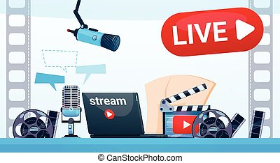 Video Blog Camera Online Stream Blogging Subscribe Concept...