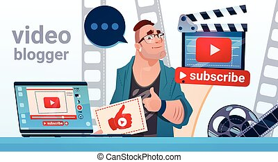 Man Video Blogger Camera Computer Screen Blogging Subscribe...