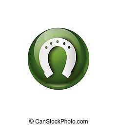 Green Horseshoe Icon Good Luck Symbol Flat Vector...