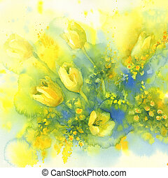 tulips and mimosa flower watercolor - Yellow tulips and...