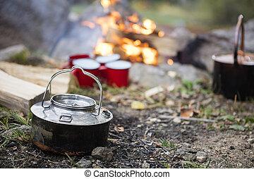 camping, caldera, Primer plano