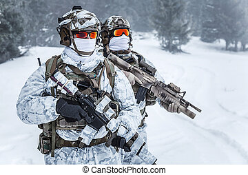 Winter arctic mountains warfare. Action in cold conditions....
