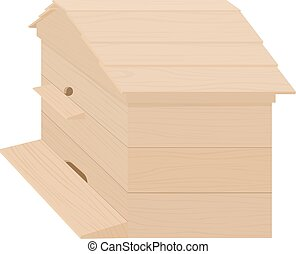 Wooden Beehive on a white background