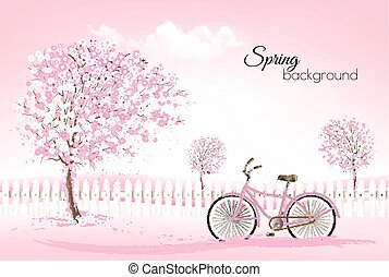Beautiful spring nature background with a blossoming trees...