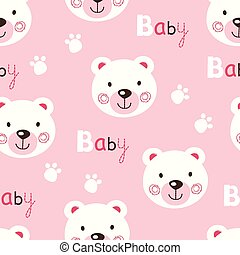 Seamless pattern with cute baby teddy bears