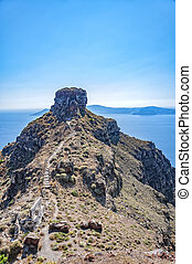 Skaros Rock on Santorini - A view of santorini overlooking...