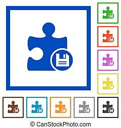 Save plugin flat framed icons - Save plugin flat color icons...