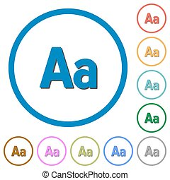 Font size icons with shadows and outlines - Font size flat...