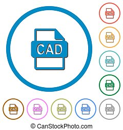CAD file format icons with shadows and outlines - CAD file...
