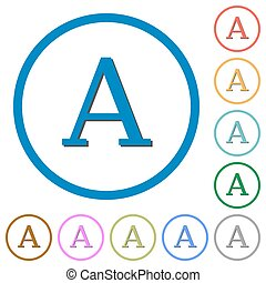 Character font icons with shadows and outlines - Character...
