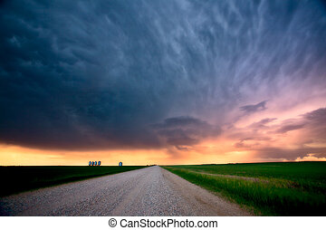 Storm Clouds over Saskatchewan country road