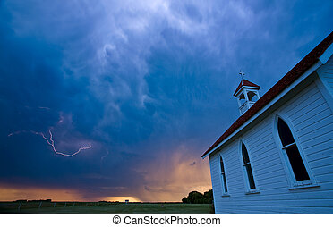 Storm Clouds over Saskatchewan country church