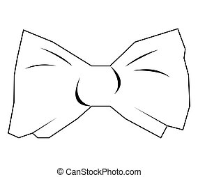 Isolated bowtie outline - Isolated outline of a bowtie on a...