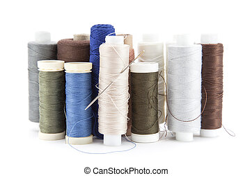 Spools of thread isolated on white