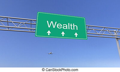 Commercial airplane passing wealth road sign. Conceptual 3D rendering
