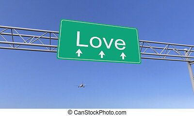 Commercial airplane passing love road sign. Conceptual 3D...