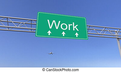 Commercial airplane passing work road sign. Conceptual 3D...