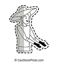 happy pretty woman with big sun hat and gardening gloves...