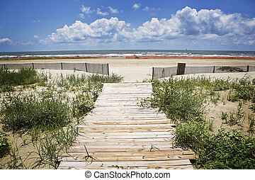 Closed Beach & Boardwalk,Gulf Coast - A small boardwalk...