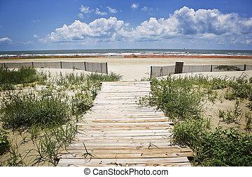 Closed Beach & Boardwalk,Gulf Coast - A small boardwalk...