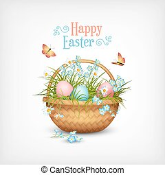 Happy Easter Card. Vector basket full of eggs and spring...