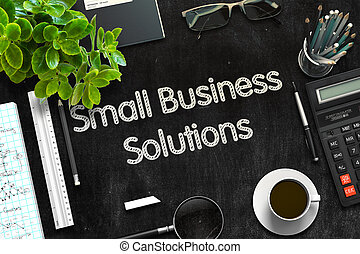 Small Business Solutions on Black Chalkboard. 3D Rendering.