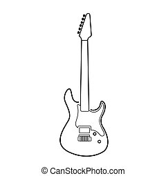 Isolated electric guitar outline - Isolated outline of an...