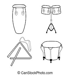 Set of musical instruments - Set of outlines of different...