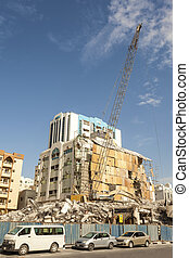 Demolition of a building in the city