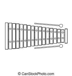 Isolated xylophone outline - Isolated outline of a...