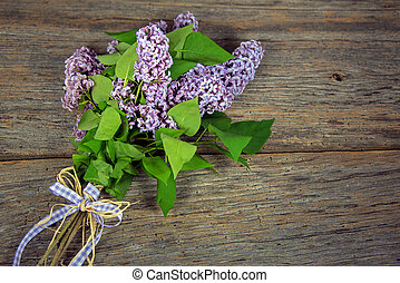 lilac bouquet with gingham bow - lilac bouquet tied with...